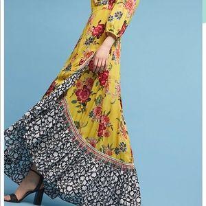 Anthropologie Yellow Floral Farm Rio Wrap Dress MP
